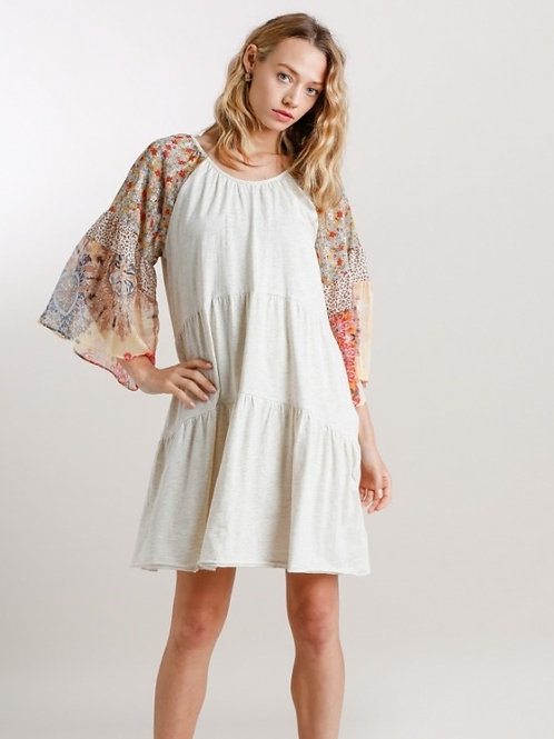 Mixed Sleeve Tiered Dress