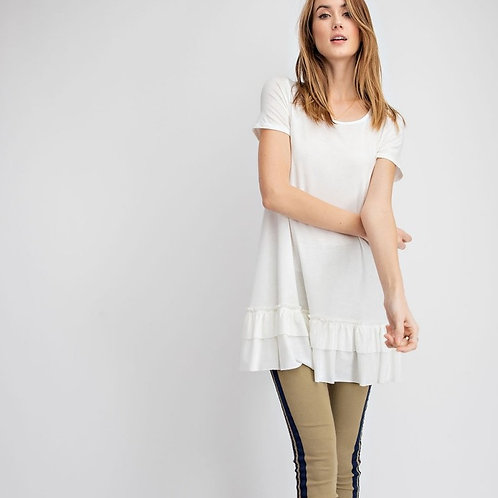 LOOSE FIT RUFFLE TUNIC-OFF WHITE