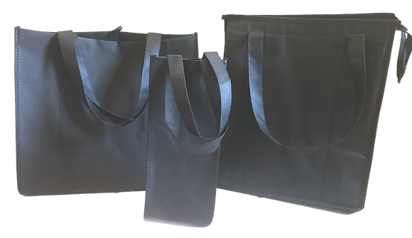 (3-Pack) Black Recycled/Reusable Grocery Bag Kit