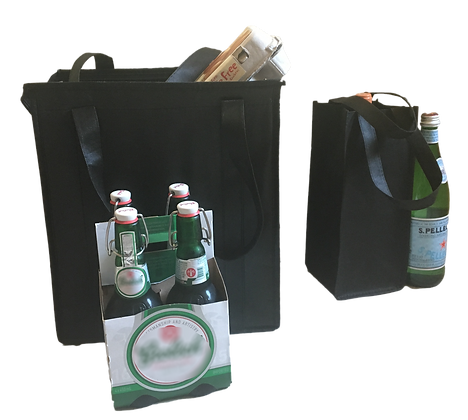 (2-Pack) Black Recycled/Reusable Grocery Bag Kit