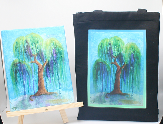 """""""Willow Weeping #1""""- Canvas Tote in Black"""