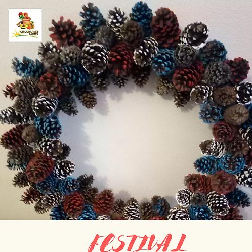 Festival pine cone wreath