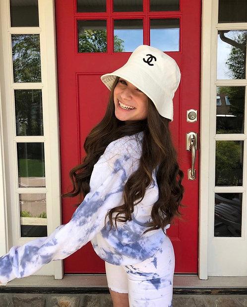 White C C Bucket Hat