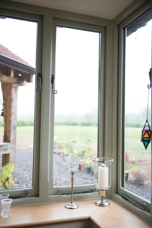 The finished window on the renovated farm build
