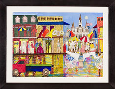 THE FRENCH QUARTER,  2.5' x 1.5' acrylic on paper, framed