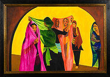 DANCING GIRLS  3'x2.5' acrylic on canvas, framed
