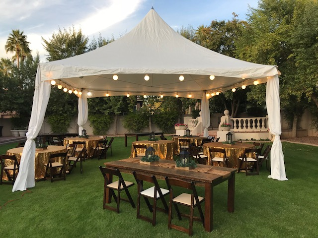 Wood Tables Chairs with Tent