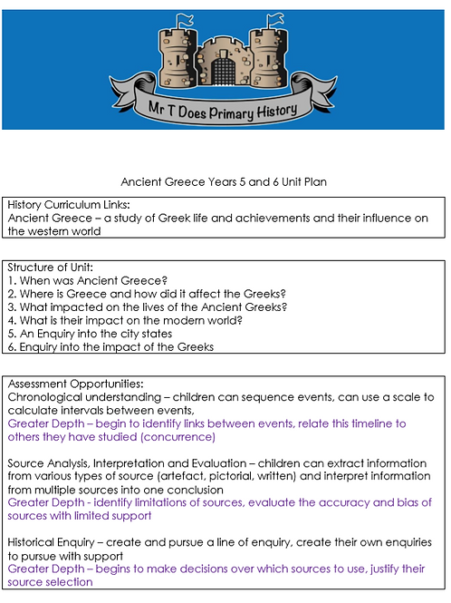 Ancient Greece Years 5 and 6 Detailed Unit Plan