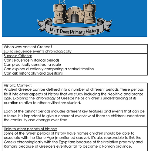 Ancient Greece Years 3 and 4 Detailed Unit Plan