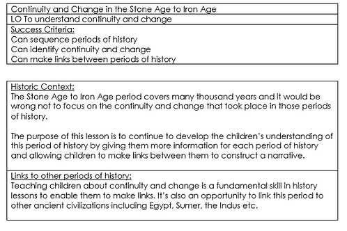 The Stone Age to Iron Age Years 3 and 4 Detailed Unit Plan