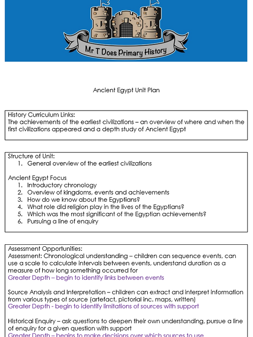 Ancient Egypt Detailed Unit Plan Years 3 and 4