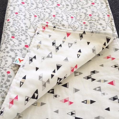 Reversible Cot Blanket - Girls Metallic Triangles
