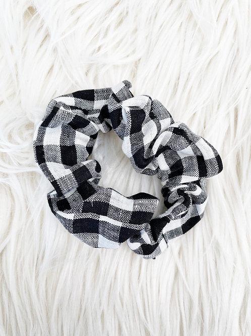 Black Linen Gingham Scrunchie