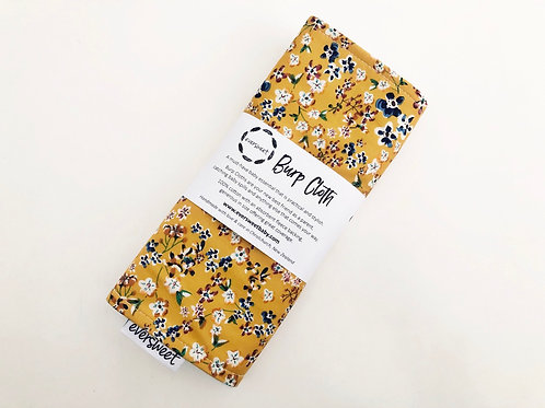 Mustard Floral Burp Cloth