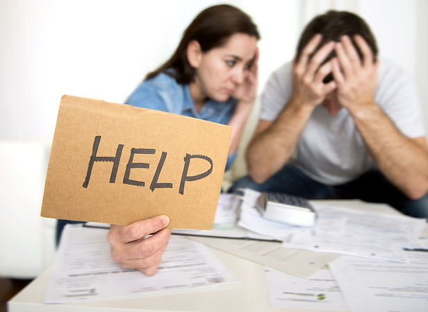 young couple worried need help in stress