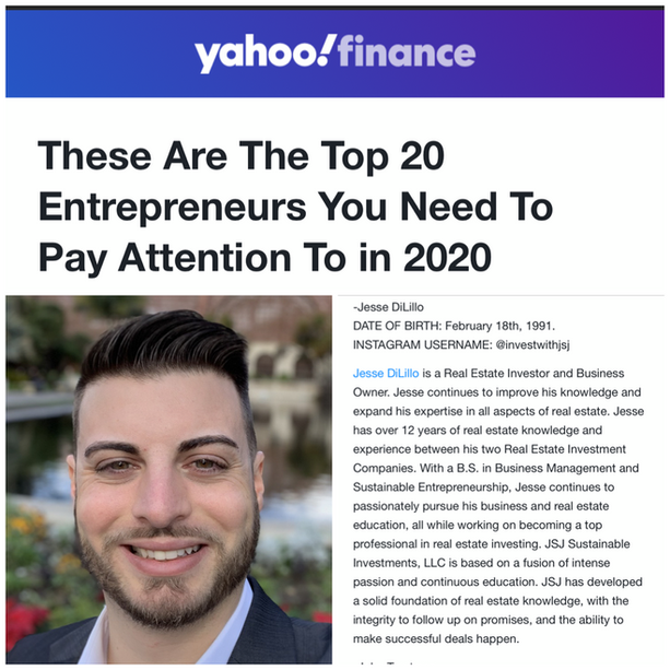Yahoo Finance - These Are The Top 20 Entrepreneurs You Need To Pay Attention To In 2020 - Jesse DiLillo