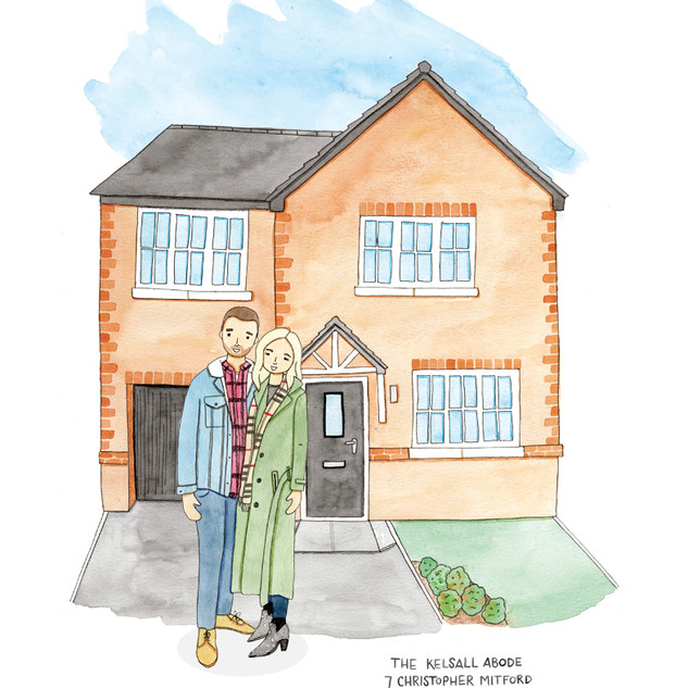 House and Family Illustration