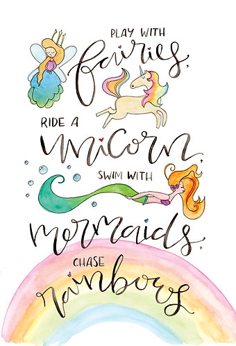 Limited Edition Fairies, Unicorn, Mermaids and Rainbows Print