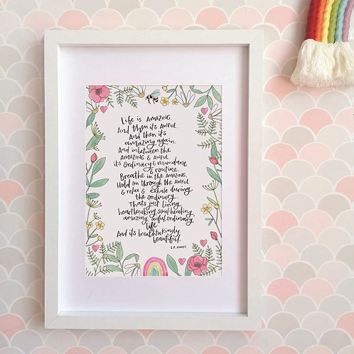 Life is Amazing with Wildflower Border Limited Edition Print