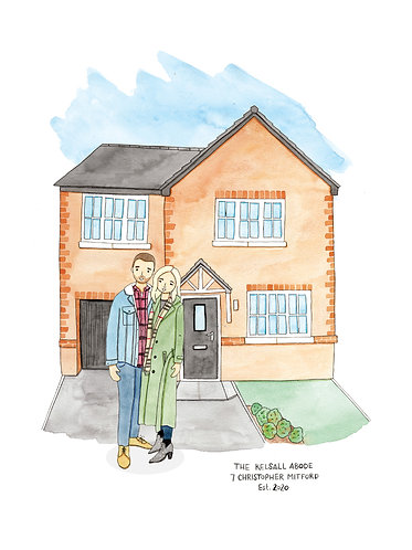 People and House Illustration