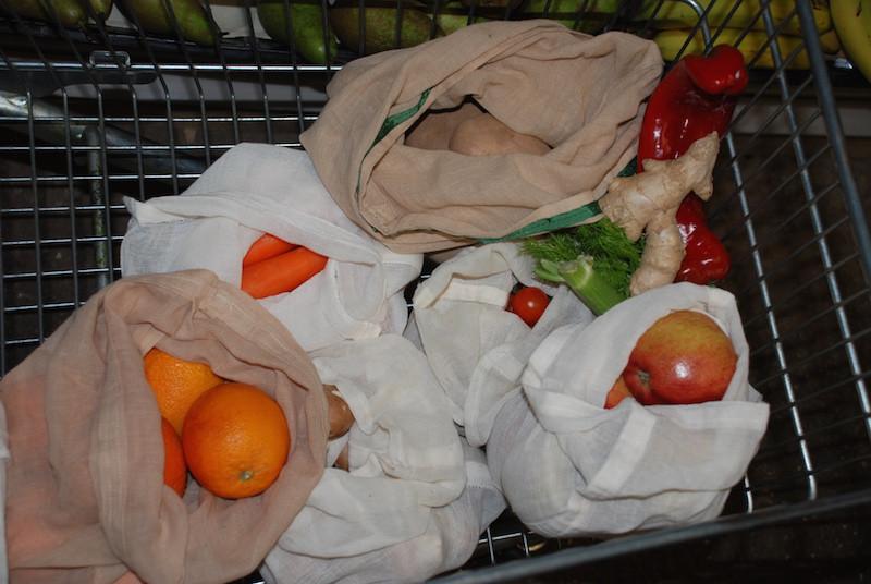 freggie bags in use in shopping trolley