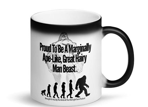 """Marginally Ape-Like"" Matte Black Magic Mug"