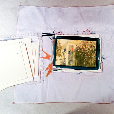 Tri-Color Gum Bichromate photographic cards with embroidered cloth case