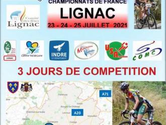 Lignac 23-25 juillet 2021 championnats de France masters route.