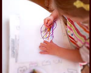 She's scribbling all over my blueprint!