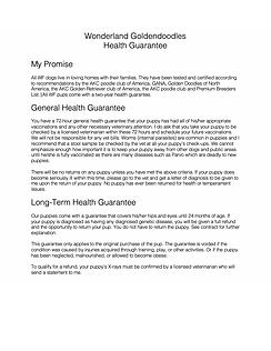 Wonderland Farm Health Guarantee