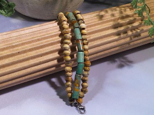 Turquoise/Horn bracelet for diffuser locket
