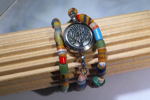 African Trade Bead Wrap Diffuser Locket Bracelet