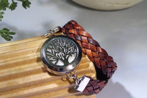 Tree of Life Leather Wrap Diffuser Bracelet