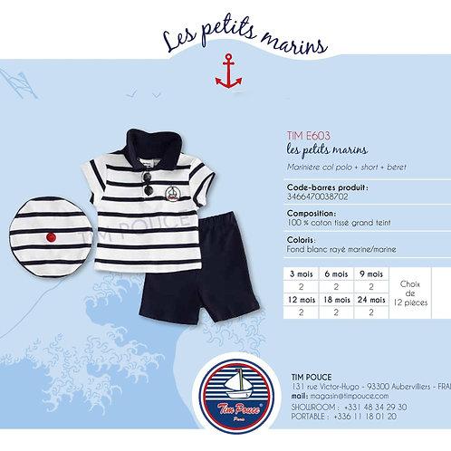 Marinière col polo + Short + Béret