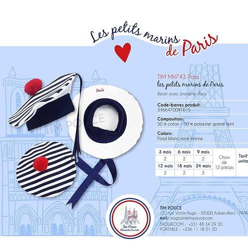 Béret avec broderie Paris