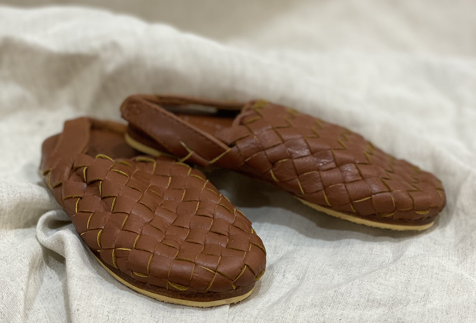 Woven Children's Mules | Tan Leather | Scandic Gypsy