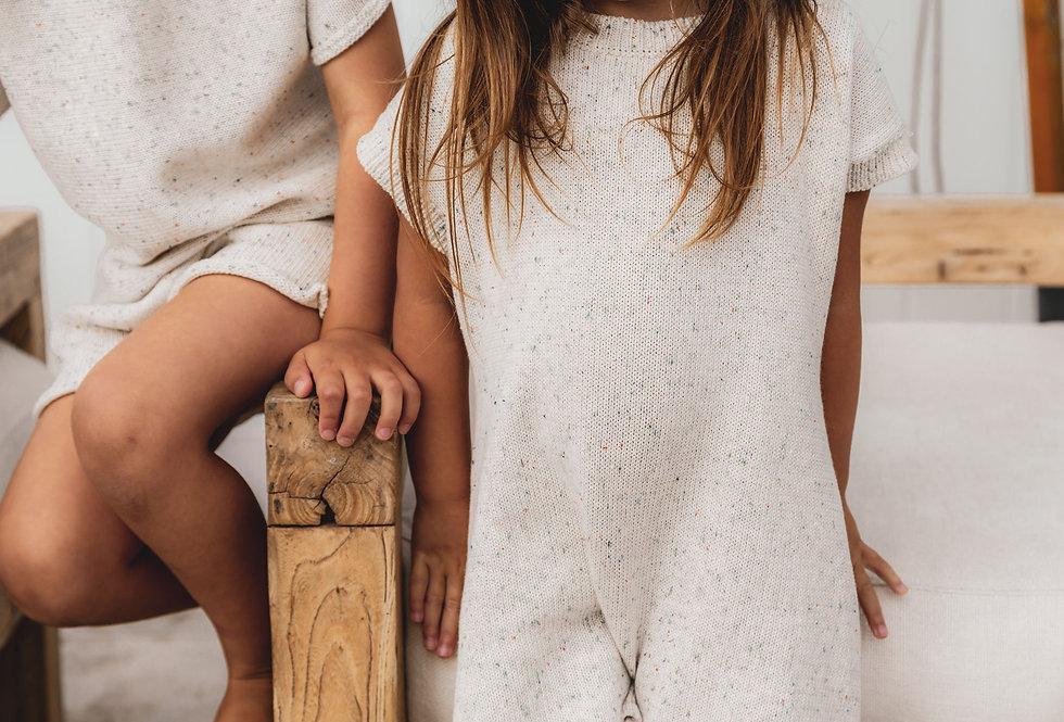 Mini Onesie Knit Set inBoneSprinklesTimeless sprinkle knitwear pieces in 100% cotton