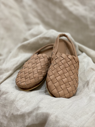 Softleather and non slip soles, these woven leather mulesare perfect for precious little feet.