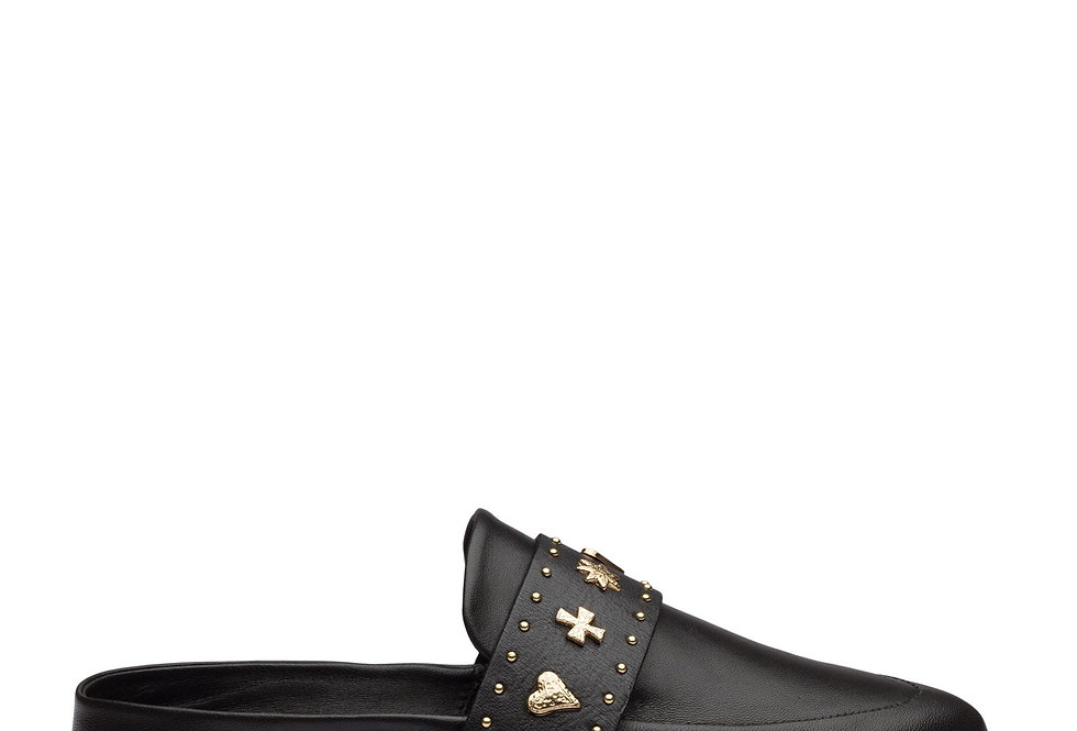 Tuesday Slide in Gold & Black Leatherby Sol Sana    The open backed Tuesday slide in black
