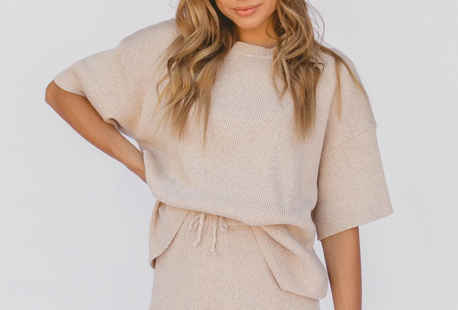 Alex Knit Tee in Sand by The Lullaby Club