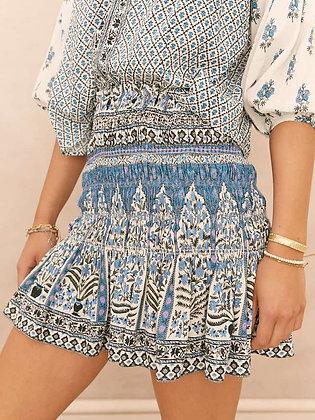 Arch Blues Shirred Mini Skirt | Boteh