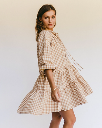 Avalon Smock Dress in Caramel Gingham by The Lullaby Club    Oversized flowing Smock dress made from soft yet durable fabrics