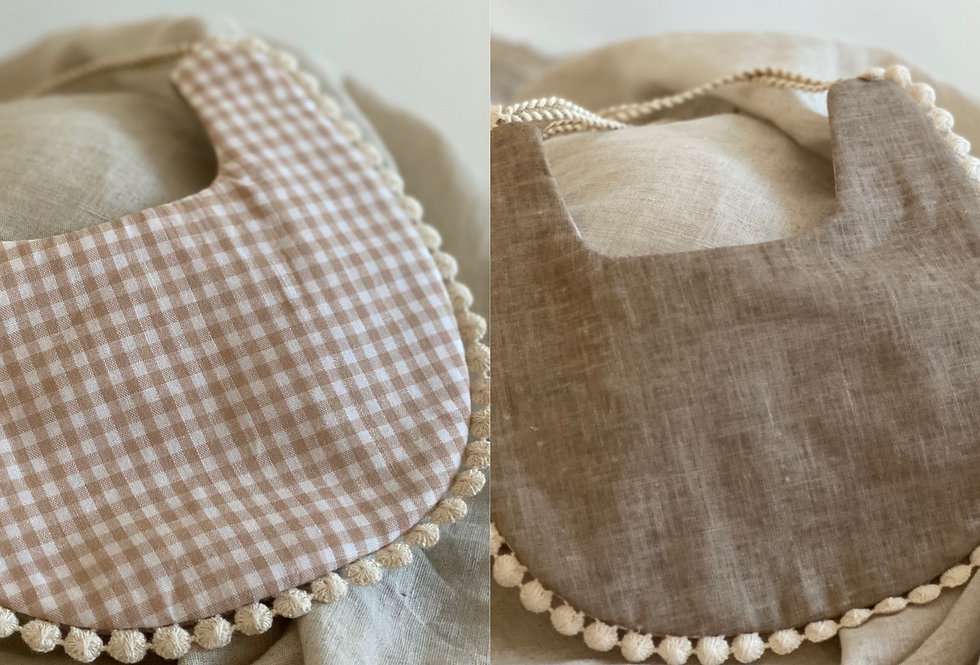 Reversible double sided baby bib withpom pom lace trim with braided ties