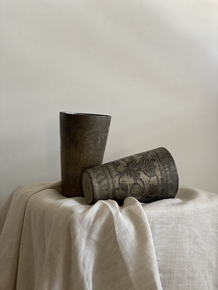 Beautiful antique brass lassi cups with intricate hand carved details. Each cup has a different design and finish.