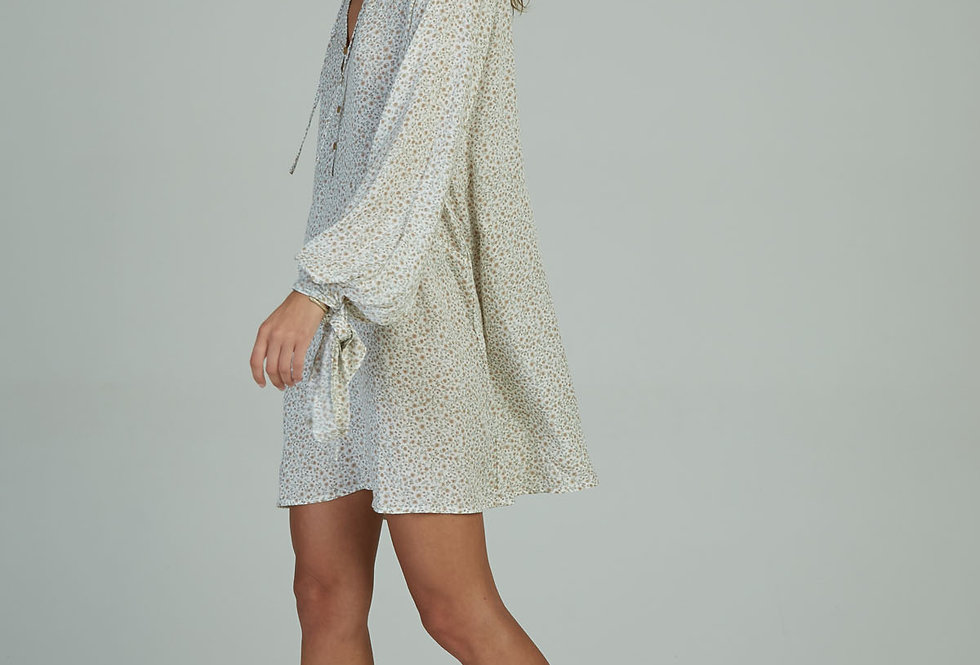 Paros Mini Dress | Vintage Floral Sand | Lilya