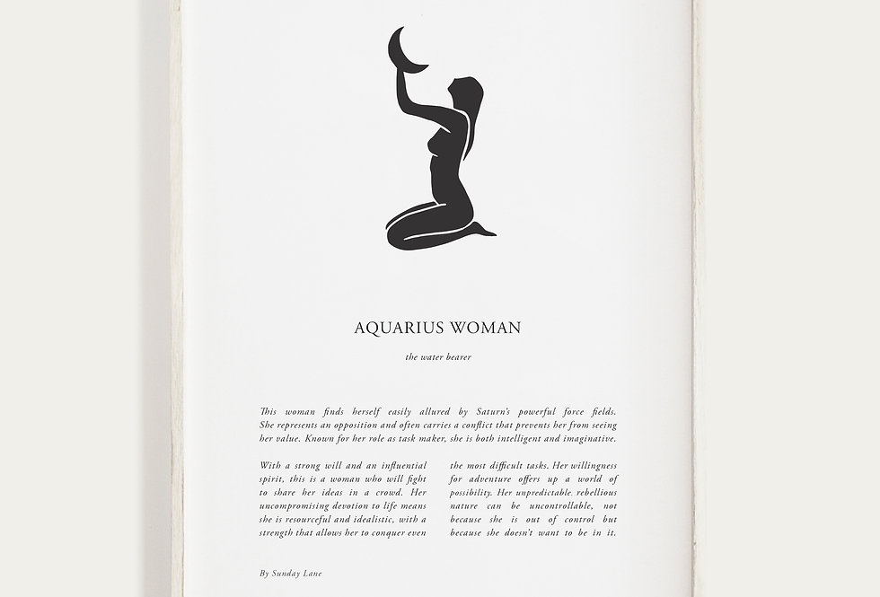 Aquarius by Sunday Lane    Inspired by you, the celestial woman, strong as hell and spectacularly created.