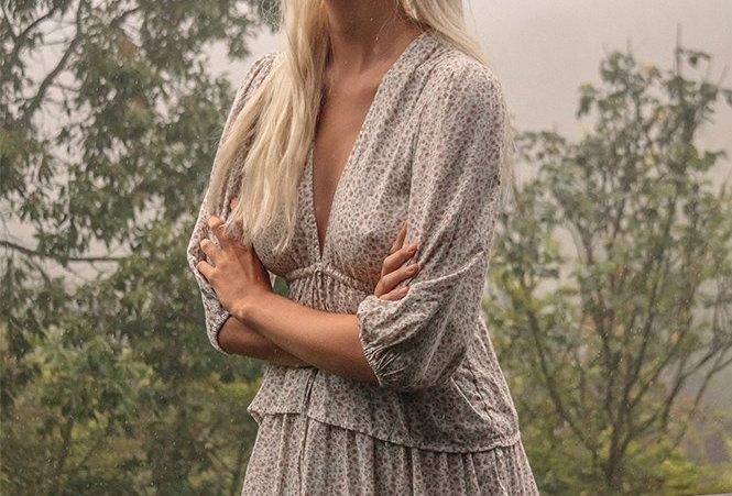 Sahara Maxi Frill Dress | Vintage Floral Ivory | Lilya