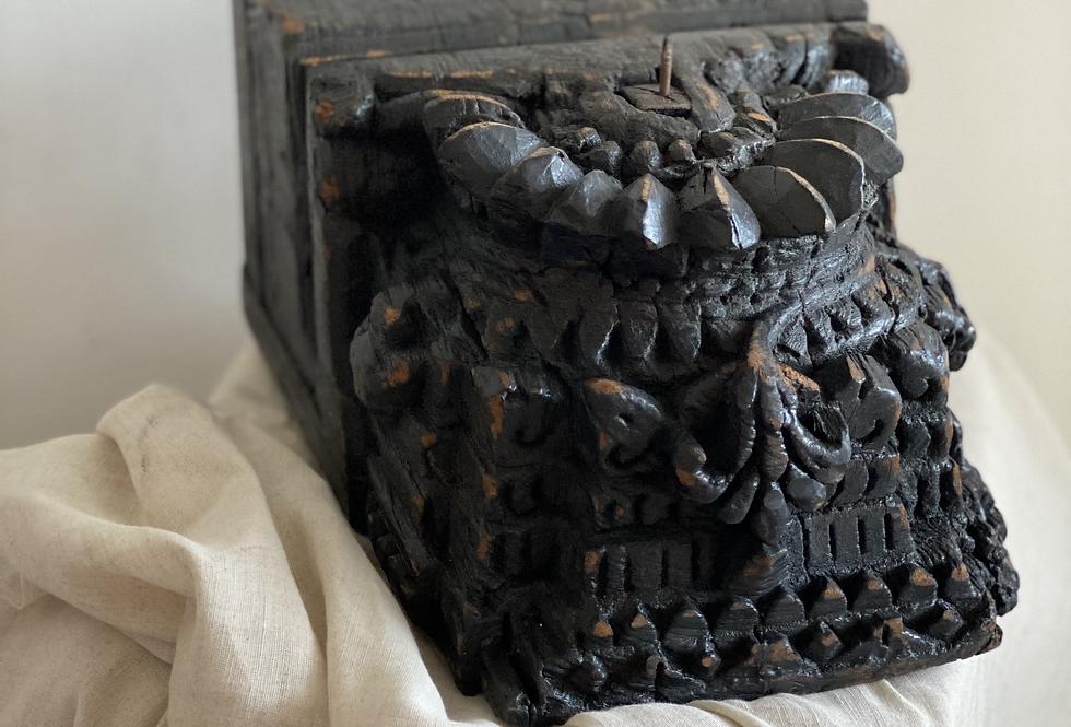 Medium Carved Antique Indian Candle Holder inBlack