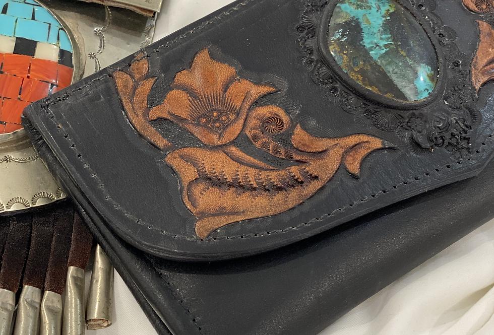 Black Turquoise Wallet   Buffalo Girl