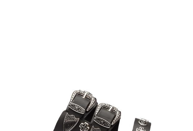Eastwood Slide by Sol Sana    The classic statement silver western buckles, metal studs and a clean strap that extends across